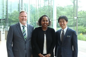 Ken Jones, Dr. Sohier Elneil, Fistula Foundation Board Chair and Naoki Okamura, VP Licensing & Alliances.
